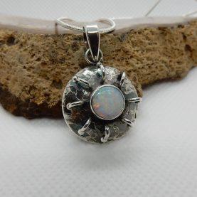 White Australian Opal Pendant by Michael Ibanes
