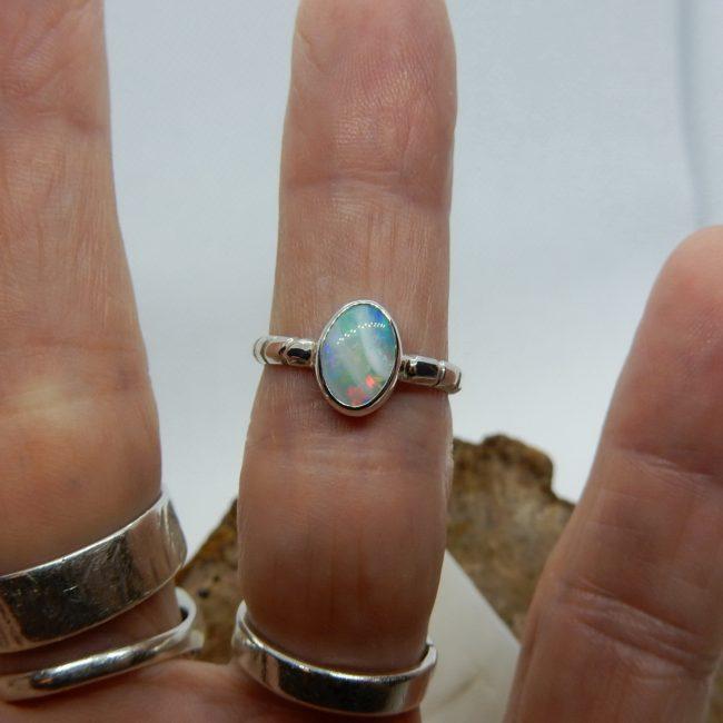 Australian Solid Opal Ring - Size 6 3/4 (N)